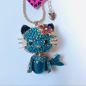 Blue Crystal Hello Kitty Mermaid Necklace